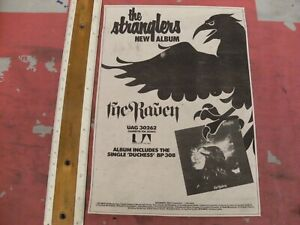"""THE STRANGLERS """"The Raven"""" New LP and  UK TOUR 1979 Original MM ADVERT/POSTER"""