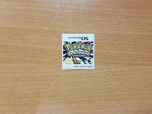 Nintendo DS Pokemon Platinum Replacement Label Decal Sticker Nintendo Cartridge