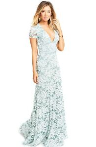 Show Me Your MuMu Eleanor Maxi Dress Size Medium Women Lovers Lace Silver Sage