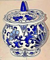 Asian Chinese Temple Jar Ginger Jar Porcelain Ceramic Blue White
