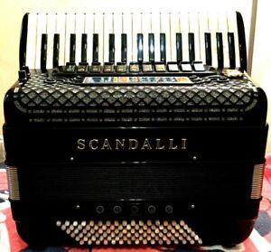 "SCANDALLI ""SUPER L""-96 BASS PIANO ACCORDION-TROLLEY HARD CASE-IN:MINT CONDITION!"