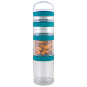 GoStak Portable Stackable Containers Teal Starter 4 Pack BPA-Free