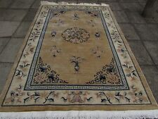 Shabby Chic Antiguo Hecho A Mano Art Decó alfombra Oriental Chino Beige Lana 279x185