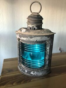 Antique Perko Starboard Blue Signal Lantern Ship Lamp Brass Galvanized Maritime