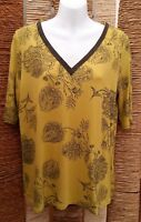 M&S COLLECTION BNWOT Ladies Lime Floral Beaded Short Sleeve Top Size 14
