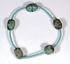 """Women's African Turquoise and seed bead 6.5"""" Stretch bracelet"""