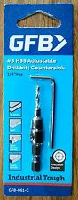 "GFB Industrial 8 Gauge High Speed Steel Drill & Countersink 1/4"" Hex Shank"