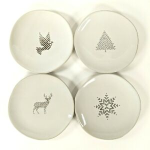 Hearth and Hand Magnolia - Holiday Motif Cream Stoneware Appetizer Plate 4pc Set
