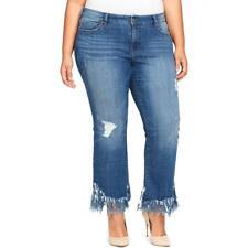 f95d5f219c8 William Rast Womens Blue Denim Frayed-hem Cropped Flare Jeans Plus 24w BHFO  5376