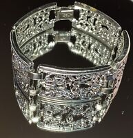 Sarah Coventry Vintage Wide Panel Scroll Filigree Silver Tone Bracelet