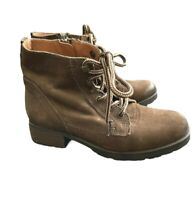 Steve Madden Leather Bootie Ankle Boots Hiking Brown Lace Up Zip Women's 6.5