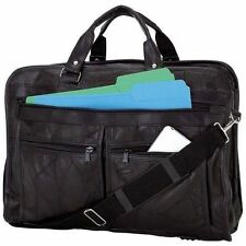 Black Leather Business Briefcase Laptop & Messenger Bag School Work Travel BCLBC