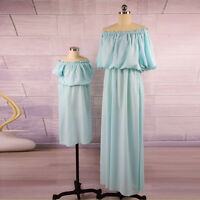 New Mother and Daughter Lovely Long Off Shoulder Dress Matching Set Outfits