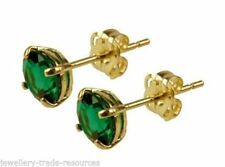 Emerald 9 Carat Yellow Gold Fine Earrings