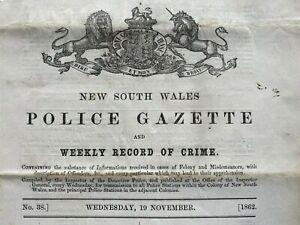 1862 19 Nov New South Wales POLICE GAZETTE rewards, prisoners, RARE free EXPRESS