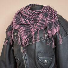 Large Square Tasseled Arab Shemagh Scarf Pink Black Hippie Festival Vintage