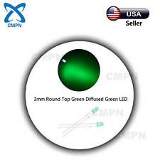 100Pcs 3mm Green LED Lamp Bright Bulb Light Emitting Diodes Diffused Round Top