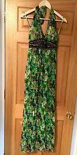 AX Paris Tropical Green Halter-Neck Maxi Dress, Size 8