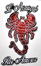 XL Sequin Scorpion L'Aveugle Par Amour Embroidered Patch Applique Designer Love