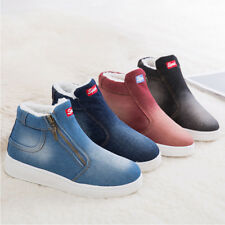 Womens Fur Lined Ankle Boots Warm Low Heel Denim Sneaker Zip Casual Winter Shoes