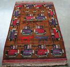 Hand Made Rifles And Tank, Helicopters Afghan War Rug Memory Of Russian War