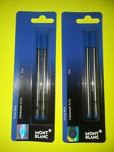 (2) MONT BLANC PACIFIC BLUE 2 ROLLERBALL REFILLS~FINE~BRAND NEW~BID@$10~oh, my!