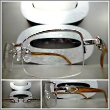 Mens CLASSY READING EYE GLASSES READERS Silver & Wood Wooden Fashion Frame +1.50