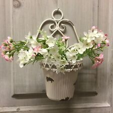 French Chic Wall Plant Pot Holder White Distressed Shabby Style Garden Gift