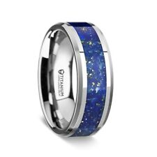 BRAND NEW Titanium Men's Band with Blue Lapis Inlay and Beveled Edges - 8mm
