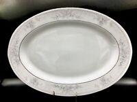 Sango Majesty #8396 ROMANTICA Oval Serving Platter Gray/Lavender Flowers/Silver