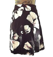 NEW White House Black Market 4 Small 100% Silk Skirt Gray Red Floral A Line $108