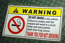 NO SMOKING WARNING Sticker Decal Vinyl JDM Drift Euro Lowered illest Fatlace