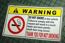 NO SMOKING WARNING Sticker Decal Vinyl JDM Drift Euro Lowered illest Fatlace