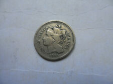 """1865 Three Cents Nickel Coin (F) on copper-nickel  """""""" A Nice Fine One """""""""""