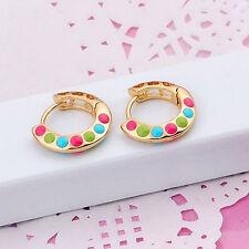 Lovely 18k Yellow Gold GF Multi-color Rainbow Painting Filigree Huggie Earrings
