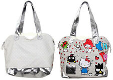 Hello Kitty & Friends Heart Bag PURSE Silver San Rio 50th ANN. polka dot hearts