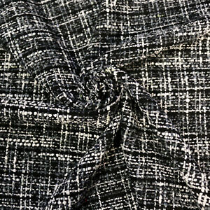 """Boucle fabric - Beige & black and grey & black - 60""""wide - Wool blend"""