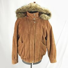 Men's Women's Jacket Leather Flight Bomber Quilted Liner Hood Coyote Fur Brown L