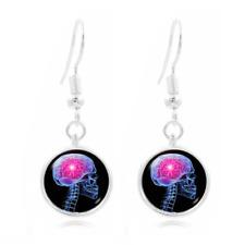 Skull Brain Photo Art Glass Cabochon 16mm Charm Earring Earring Hooks