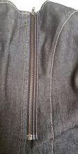 Laura Ashley Skirt 8 black denhim vintage mini maxi zip front as New pure cotton