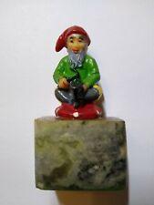Gnome Elf Figure Vintage Figurine Fantasy Seated On Mushroom Marble Base Figure