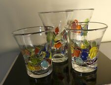 4 Murano Millefiori Mosaic Confetti Drinking Glasses Hand Blown Heavy Glass Art