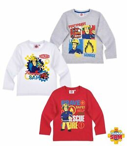 Long Sleeve Shirt Boys Fireman Sam Jumper Grey White Red 98 104 110 116 128 #96