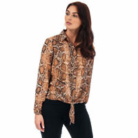 Womens Brave Soul Snake Print Tie Front Blouse In Brown