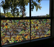 50x92cm Privacy Static Cover Stained Leaf Window Film Glass Vinyl Home Decor