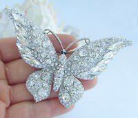 """3.74"""" Gorgeous Butterfly Brooch Pin Clear Rhinestone Crystal Pendant EE04538C13"""