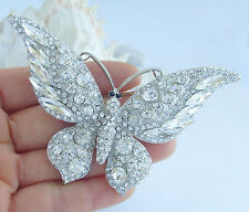"Clear Rhinestone Crystal Pendant Ee04538C13 3.74"" Gorgeous Butterfly Brooch Pin"