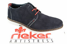 Rieker Men's Lace-Up Sneakers Blue Leather 13031 New