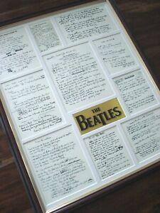 THE BEATLES ORIGINAL HANDWRITTEN LYRICS FRAMED DISPLAY MONTAGE VERSION #2