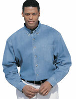 Tri-Mountain Men's Heavyweight Stonewashed Double Needle Denim Casual Shirt. 830
